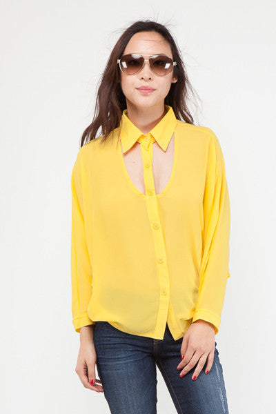 Cut Out Button Down Blouse