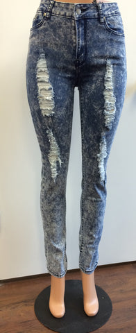 Acid Wash Distressed Denim