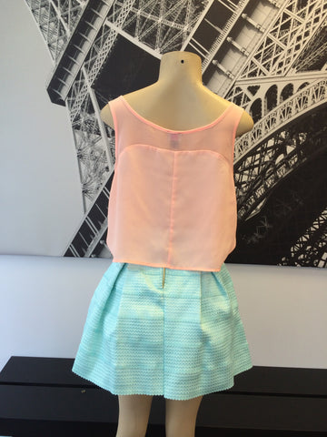 Chiffon Panel Crop Top