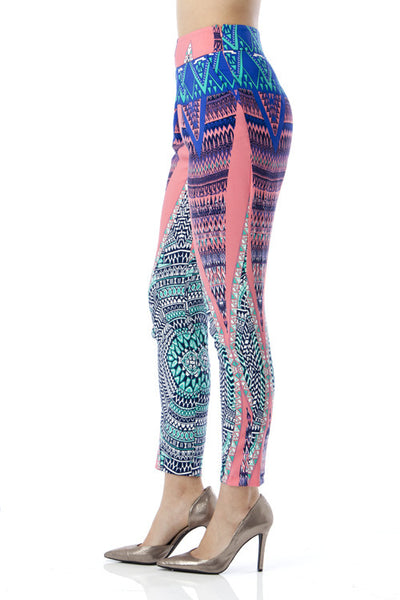 Abstract Print Cigarette Pants