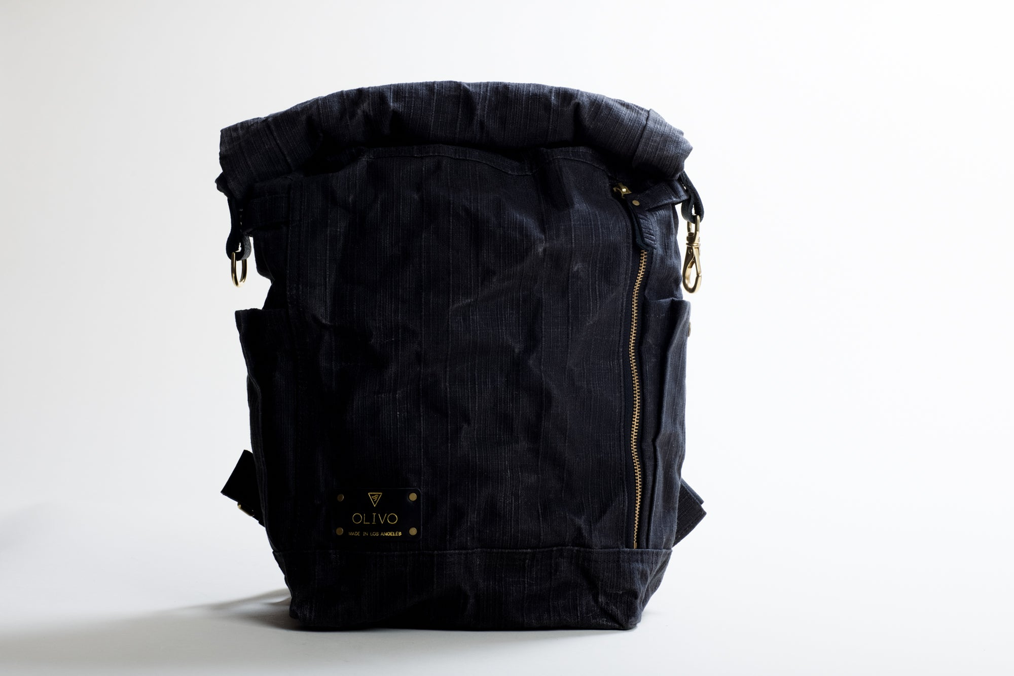 The Bees Knees Backpack in Black Textured Waxed Canvas