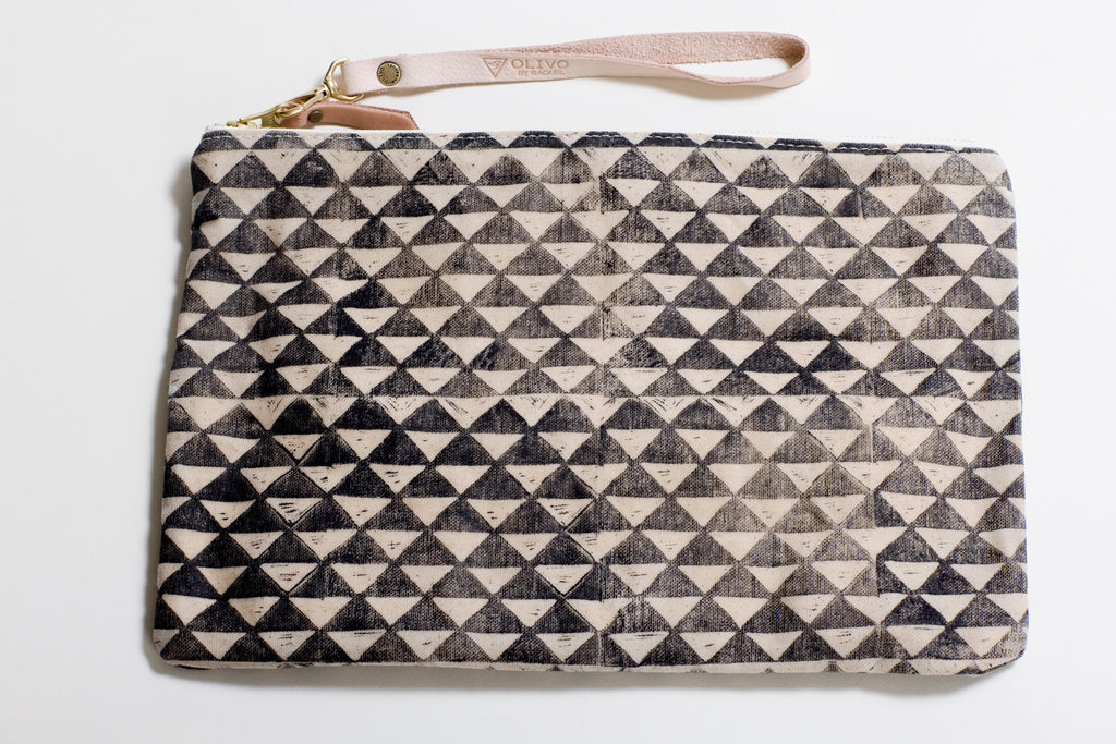 The Clutch in Waxed Canvas ~ Triangles