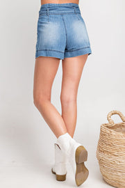 High Waisted Bow Tie Jean Short