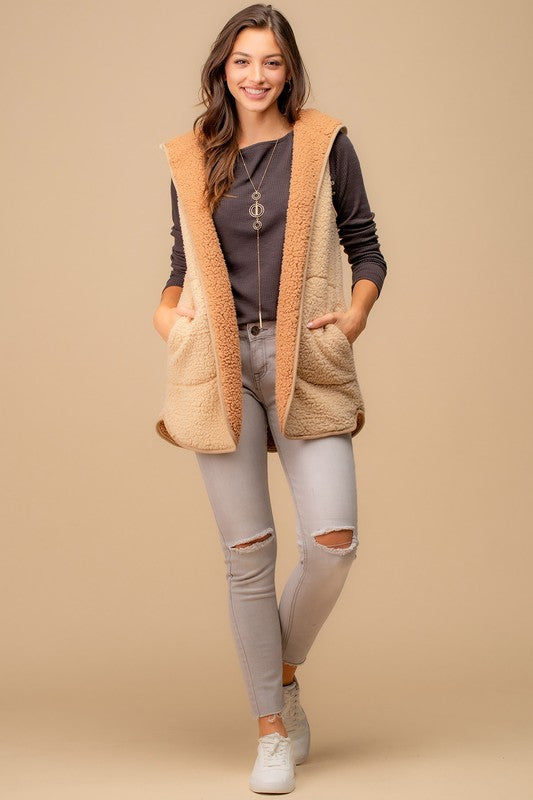 Reversible Hoodied Fur Vest