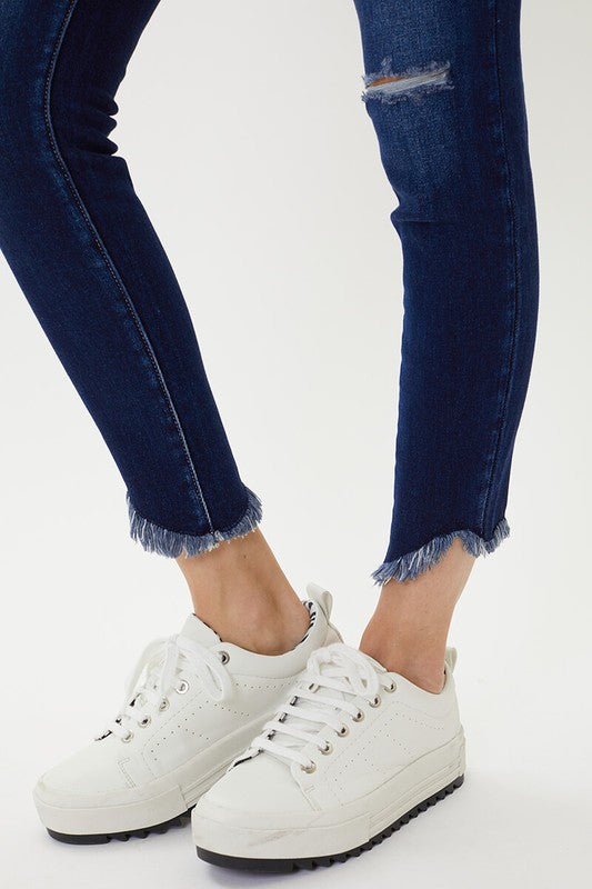 Kancan High Rise Frayed Ankle Skinny Jean