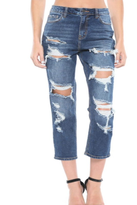 Cello High Rise Destructed Jean