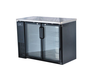 "Spartan SGBBB-48 48"" Back Bar Cooler, Black Vinyl, Glass Door - JrcNYC"