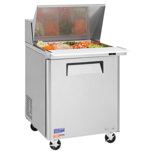 "Turbo Air MST-28-12-N M3 Series 28"" 1 Door Mega Top Stainless Steel Refrigerated Sandwich Prep Table - JrcNYC"