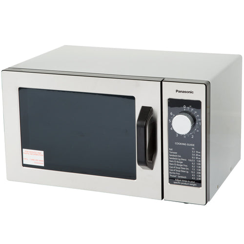 Panasonic NE-1025 Stainless Steel Commercial Microwave Oven with Dial Timer - 120V, 1000W - JrcNYC