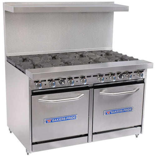 Bakers Pride Restaurant Series 48-BP-8B-S20 Natural Gas 8 Burner Range with Two Space Saver 20