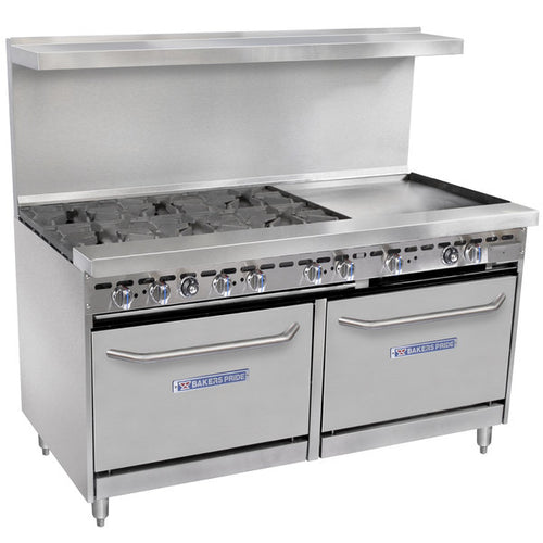 Bakers Pride Restaurant Series 60-BP-6B-G24-S26 Natural Gas 6 Burner Range with Two Standard 26