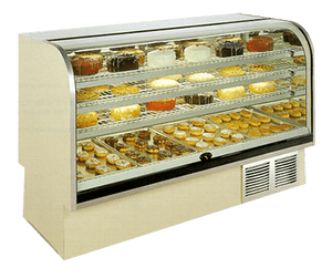 BCR Series, High Volume Curved Glass Refrigerated or Dry Bakery Display Case - JrcNYC