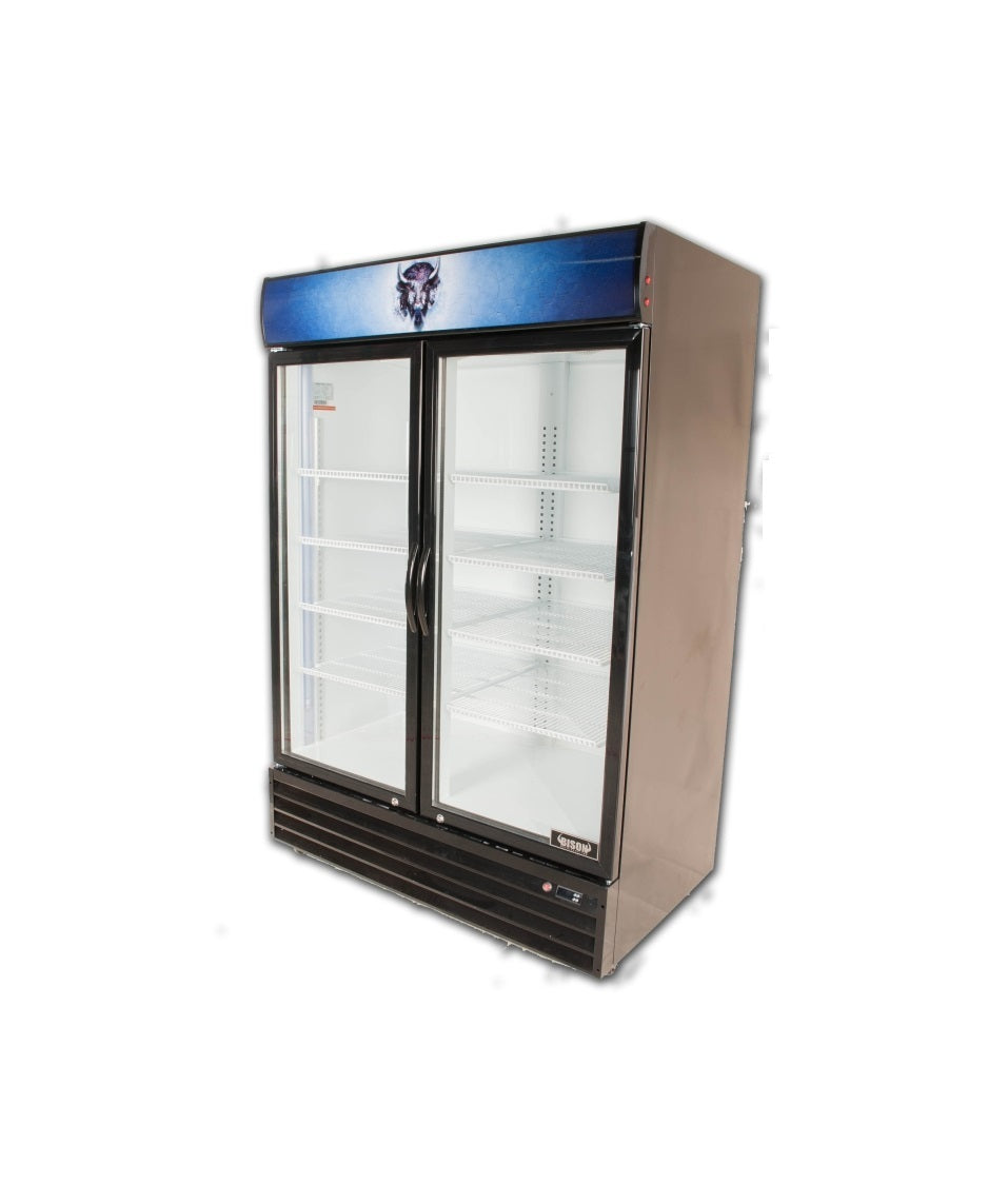Bison BGM-49 2 Door Glass Reach-In Refrigerator - JrcNYC
