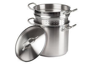 Stainless Steel Double Boiler/Pasta Cooker/Steamer with Cover - JrcNYC
