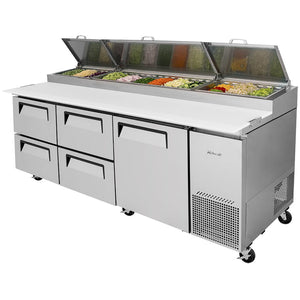 "Turbo Air TPR-93SD-D4-N 93"" Pizza Prep Table with1 Door and 4 Drawers - JrcNYC"