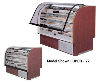 LUBCR Series, Lift Up High Volume Curved Glass Refrigerated or Dry Bakery Display Case - JrcNYC