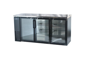 "Spartan SGBBB-72 72"" Back Bar Cooler, Black Vinyl, Glass Door - JrcNYC"