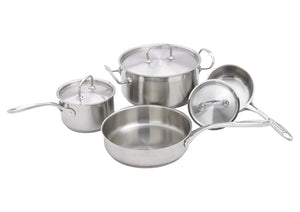 Winco SPC-7H, Deluxe Stainless Steel 7-Piece Cookware Set - JrcNYC