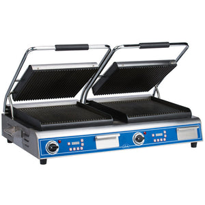 Globe GPGDUE14D Deluxe Double Sandwich Grill with Grooved Plates - JrcNYC