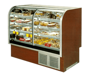 SPL Series 1/2 Refrigerated Curved Glass Bakery Case  1/2 Dry Curved Glass Dry Bakery Case - JrcNYC
