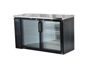 "Spartan SGBBB-60 60"" Back Bar Cooler, Black Vinyl, Glass Door - JrcNYC"