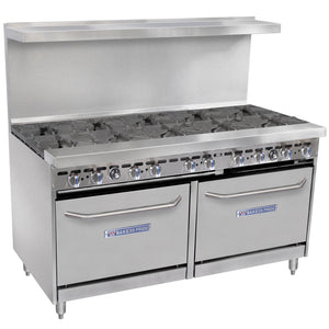 "Bakers Pride Restaurant Series 60-BP-10B-S26 Natural Gas 10 Burner Range with Two Standard 26"" Ovens - JrcNYC"