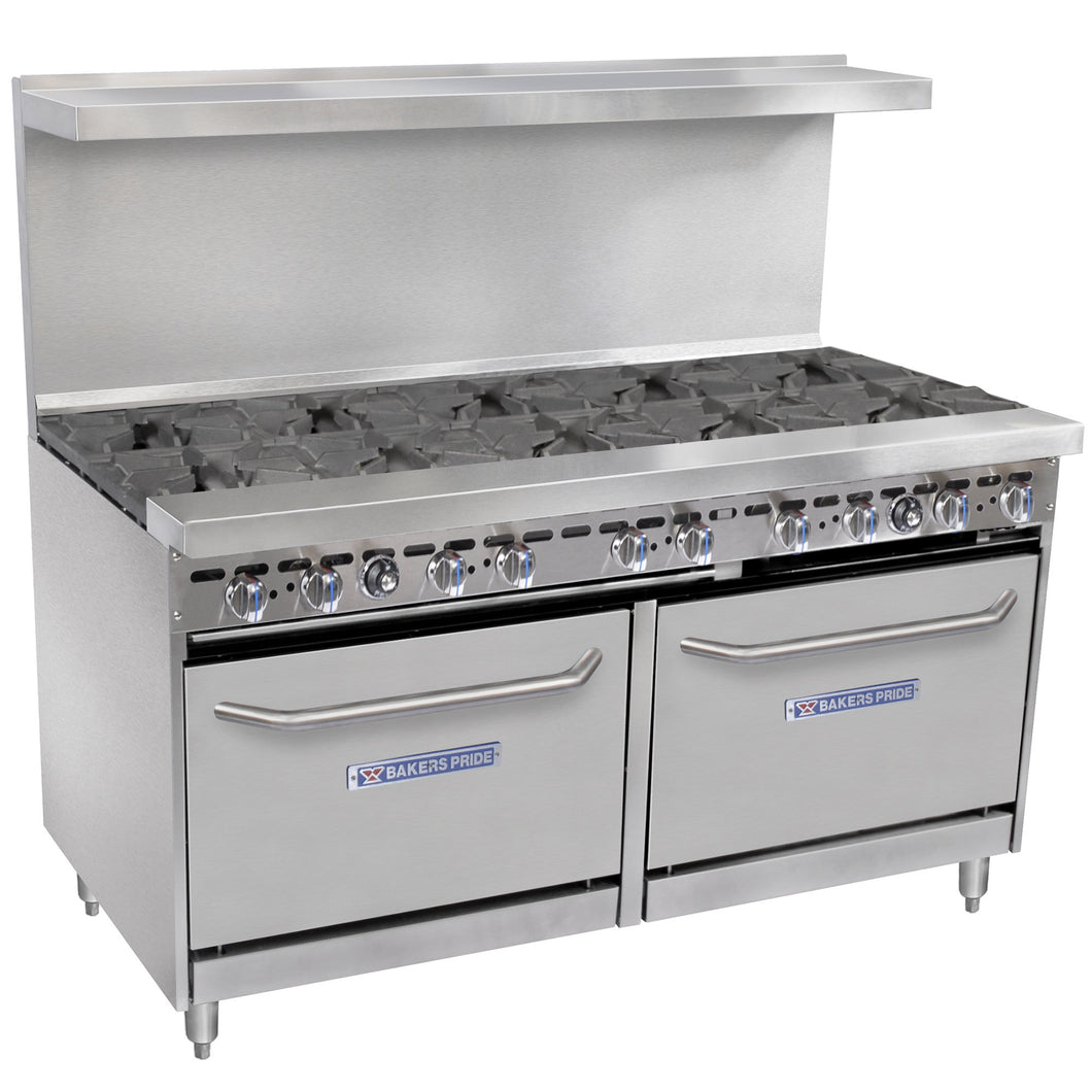 Bakers Pride Restaurant Series 60-BP-10B-S26 Natural Gas 10 Burner Range with Two Standard 26