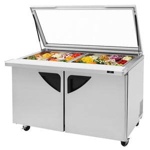 "Turbo Air TST-60SD-24-N-GL 60"" 2 Door Mega Top Hinged Glass Lid Refrigerated Sandwich Prep Table - JrcNYC"