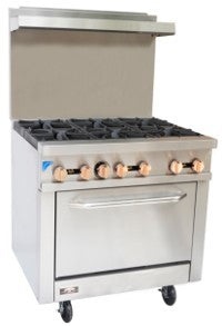 Copper Beech CBR-6 6 Open Burner Gas Range w/ Oven - JrcNYC