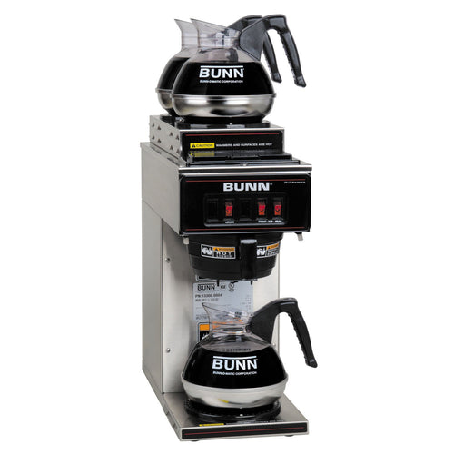 BUNN 13300.0004 VP17-3SS2U Pourover Commercial Coffee Brewer with One Lower and Two Upper Warmers, Stainless Steel - JrcNYC