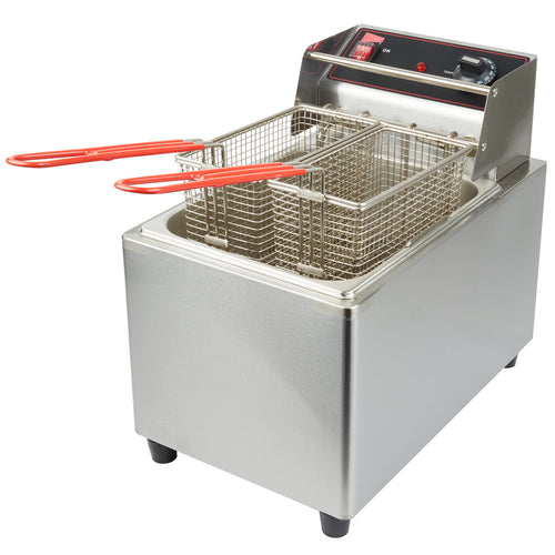 Cecilware EL15 Stainless Steel Electric Commercial Countertop Deep Fryer with 15 lb. Fry Tank - 120V, 1800W - JrcNYC