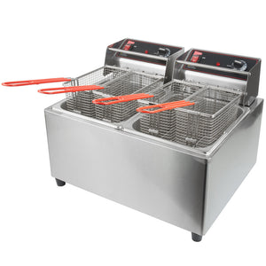 Cecilware EL2X25 Stainless Steel Electric Commercial Countertop Deep Fryer with Two 15 lb. Fry Tanks - 240V, 3200W - JrcNYC