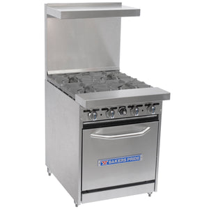 "Bakers Pride Restaurant Series 24-BP-4B-S20 Natural Gas 4 Burner Range with Standard 20"" Oven - JrcNYC"
