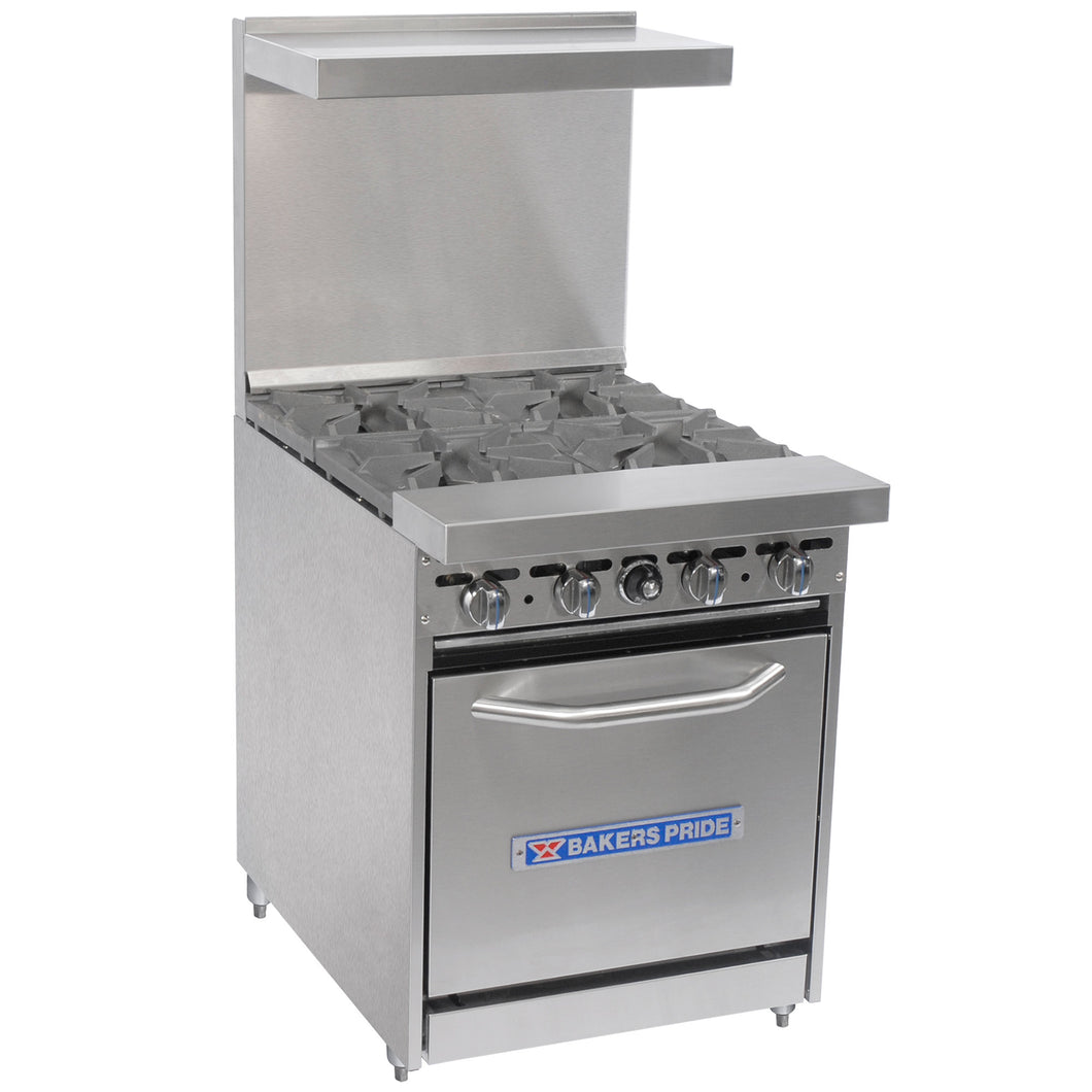 Bakers Pride Restaurant Series 24-BP-4B-S20 Natural Gas 4 Burner Range with Standard 20