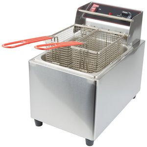 Cecilware EL25 Stainless Steel Electric Commercial Countertop Deep Fryer with 15 lb. Fry Tank - 240V, 3200W - JrcNYC