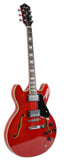 Full Size Hollow body Electric Guitar with Cable and Picks (Transparent Red)