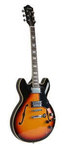 Full Size Semi Hollow body Electric Guitar (Sunburst Color)