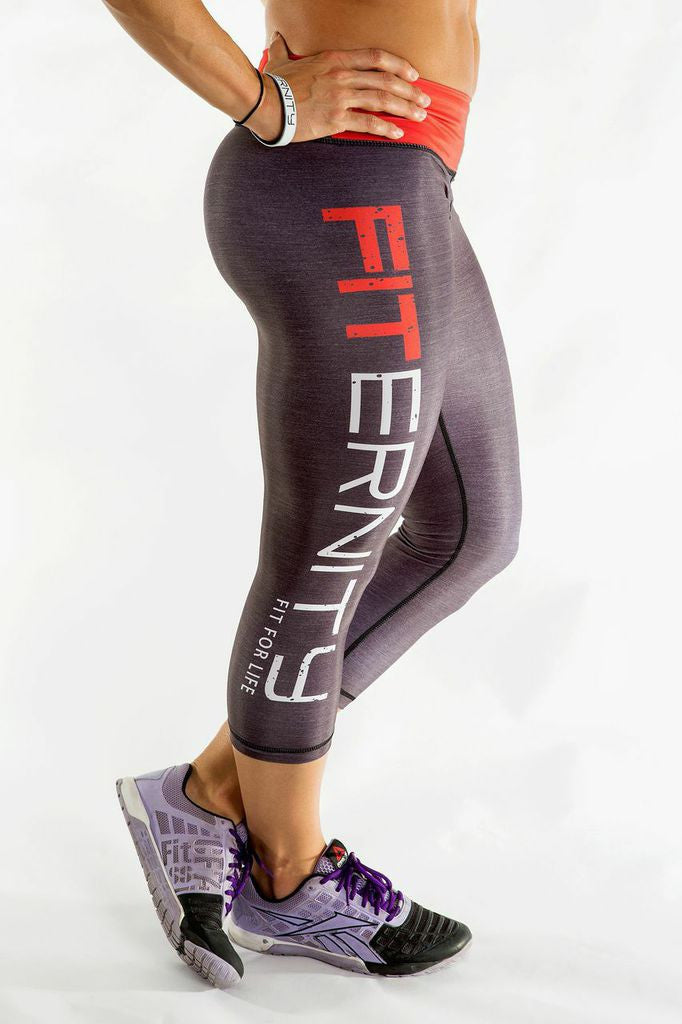 FITERNITY Heather Gray / Red | Crop