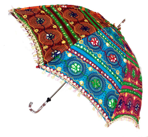 Multi Colored Mirror Indian Sari Parasol Large