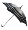 Pasotti Black and White Striped Parasol with Black Leather Handle