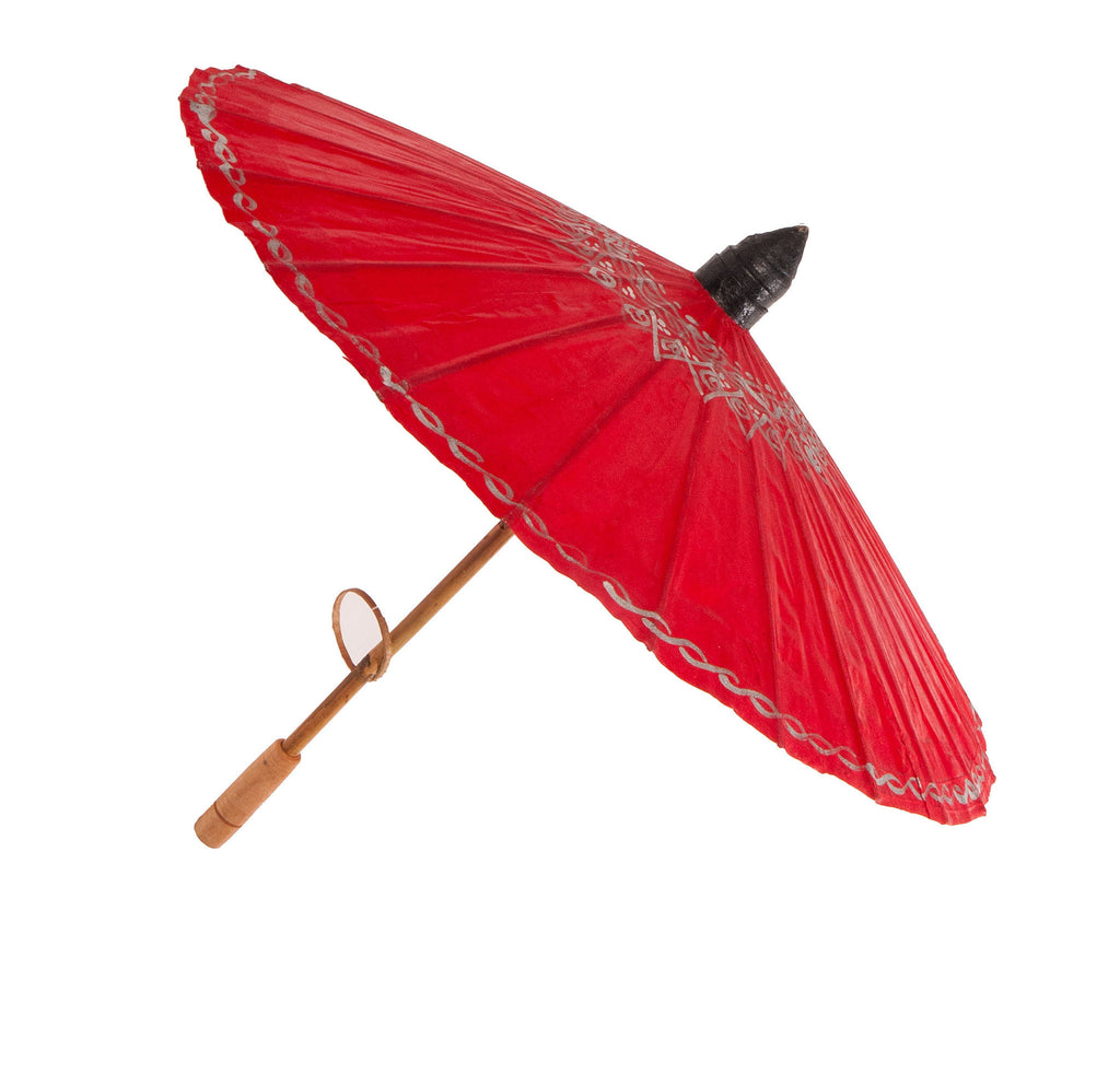Thai Red and Silver Painted Cotton Parasol