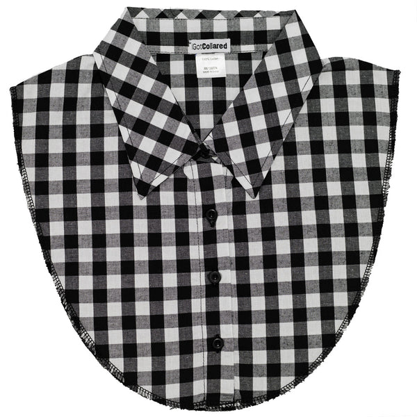 Gingham Black and White Plaid Dickey Collar