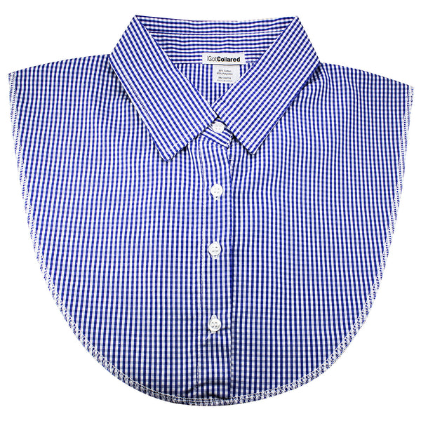 Blue and White Check Dickey Collar