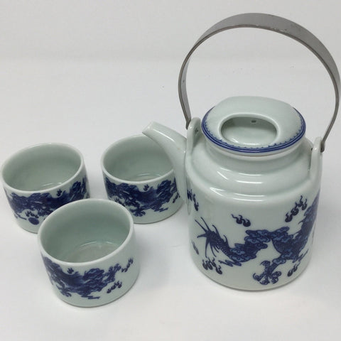Blue Dragon Metal Handle Porcelain Tea set