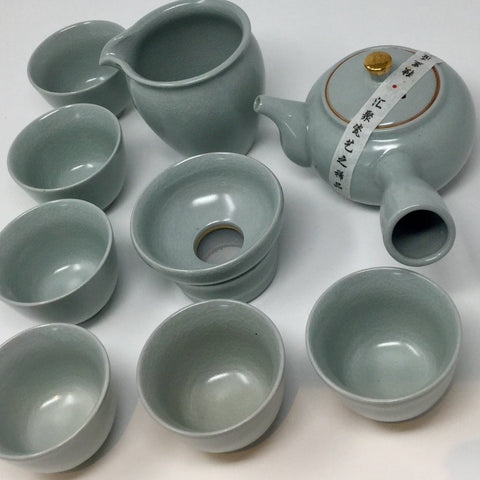 Japanese Style Kyusu Handle Celadon Porcelain Tea set 01
