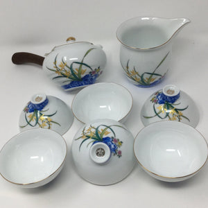 Janpanese Style Wooden Handle Flowers Porcelain tea set 01