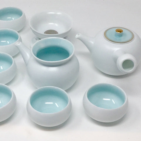 Japanese Style Kyusu Handle Celadon Porcelain Tea set 0201