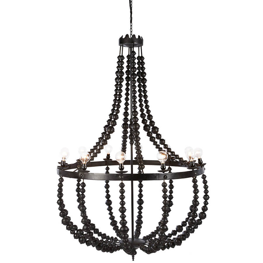 Metal Beaded Chandelier by Bobo Intriguing Objects, Size Large