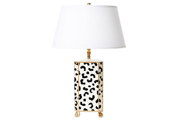 Dana Gibson Leopard Lamp With Gold Lion Foot Detail