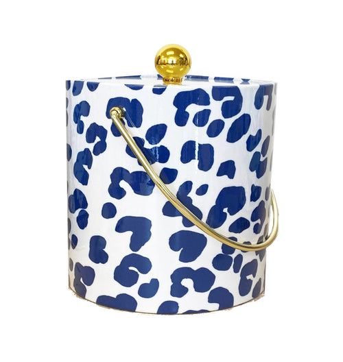 Dana Gibson Navy Blue Ocelot Ice Bucket